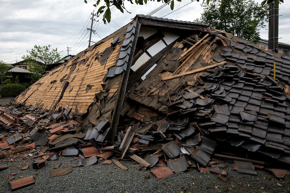 KUMAMOTO, JAPAN - APRIL 16: A magnitude 7.3 earthquake hit Kumamoto prefecture once again on April 16, 2016 after the 6.4 earthquake on April 14, 2016 killed nine people.<br /> <br /> Photo: Richard Atrero de Guzman