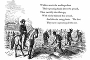 Negro labourers weeding cotton under the eyes of a mounted white overseer. Southern states of USA. Wood engraving, London, 1860.