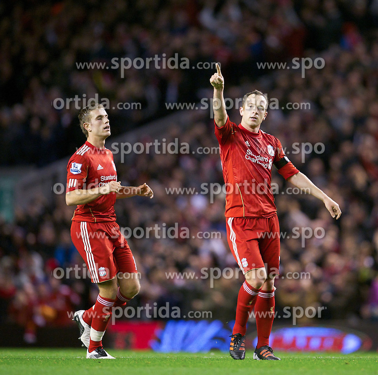 27.11.2011, Anfield Stadion, Liverpool, ENG, PL, FC Liverpool vs Manchester City, 13. Spieltag, im Bild Liverpool's Charlie Adam celebrates scoring the equalising 1-1 goal against Manchester City during the football match of English premier league, 13th round, between FC Liverpool and Manchester City at Anfield Stadium, Liverpool, United Kingdom on 2011/11/27. EXPA Pictures © 2011, PhotoCredit: EXPA/ Sportida/ David Rawcliff..***** ATTENTION - OUT OF ENG, GBR, UK *****