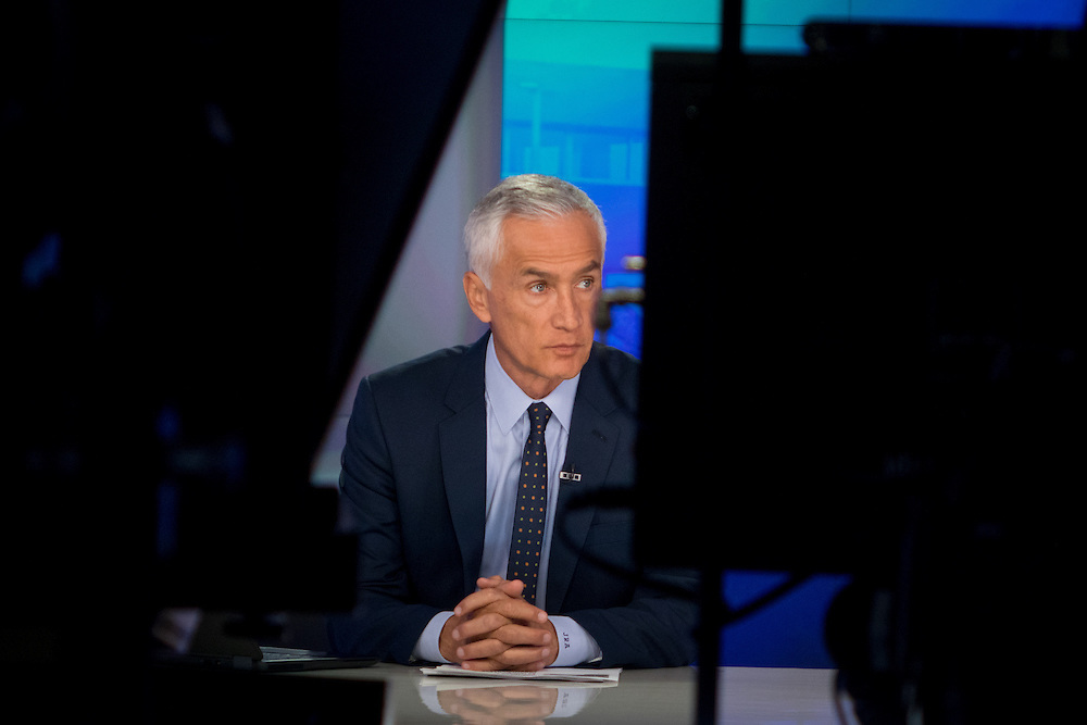 OCTOBER 14, 2015---DORAL---FLORIDA<br /> Jorge Ramos, news anchor for Univision, in the network's  set in Doral, Florida newsroom. Ramos, an influential Hispanic reporter, had an tense confrontation with Republican Presidential hopeful Donald Trump in a press conference in Iowa in August.<br /> Photo by Angel Valentin/Freelance)