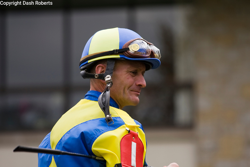 Jockey Calvin Borel at Keeneland in Lexington, Kentucky.  Borel has ridden three thoroughbreds to victory in the Kentucky Derby - Street Sense (2007), Mine That Bird (2009), and Super Saver (2010).