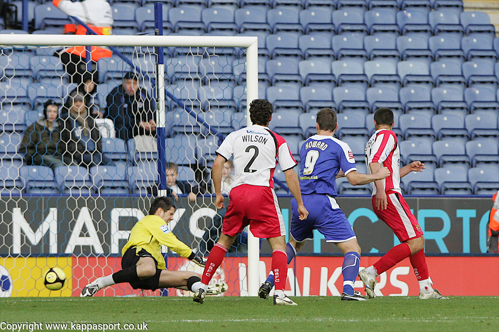 STEVENAGER KEEPER CHRIS DAY CANT KEEP OUT LEICESTERS SECOND GOAL FA CUP 8/11/08