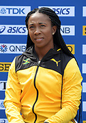 Shelly-Ann Fraser-Pryce (JAM) during a news conference prior to the IAAF World Relays, Friday, May 10, 2019,  in Yokohama, Japan.