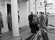 President Mitterand .at Áras an Uachtaráin..1984..21.02.1984..02.21.1984.21st February 1984..On a state visit to Dublin The French President, Mr Francois Mitterand,paid a visit to Áras an Uachtaráin,where he was greeted by The Irish President,Mr Patrick Hillery...Photograph taken as French President Francois Mitterand, takes his leave from Áras an Uachtaráin, after his state visit with President Hillery