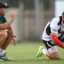 DURBAN, SOUTH AFRICA,7,MARCH, 2016 - Louis Koen with Joe Pietersen during The Cell C Sharks training session  at Growthpoint Kings Park in Durban, South Africa. (Photo by Steve Haag)<br /> <br /> images for social media must have consent from Steve Haag
