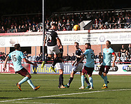 30th September 2017, Dens Park, Dundee, Scotland; Scottish Premier League football, Dundee versus Hearts; Dundee's Kerr Waddell (34) scores a 93rd minute headed winner as Dundee beat Hearts 2-1