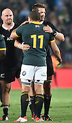 JOHANNESBURG, South Africa, 04 October 2014 : Richie McCaw (C) of the All Blacks congratulates Bryan Habana of the Springboks on the victory after the Castle Lager Rugby Championship test match between SOUTH AFRICA and NEW ZEALAND at ELLIS PARK in Johannesburg, South Africa on 04 October 2014. <br /> The Springboks won 27-25 but the All Blacks successfully defended the 2014 Championship trophy.<br /> <br /> © Anton de Villiers / SASPA
