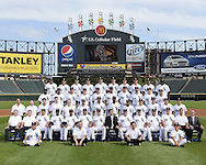 CHICAGO-AUGUST 27:  Players, coaches and staff of the 2014 Chicago White Sox pose for the official team photo on August 27, 2014 at U.S. Cellular Field in Chicago, Illinois. FIRST ROW:  Batboys  SECOND ROW:  Assistant Trainer Brian Ball, Head Trainer Herm Schneider, Bullpen Catcher Mark Salas, First Base Coach Daryl Boston, Assistant Hitting Coach Harold Baines,  Hitting Coach Todd Steverson, Manager Robin Ventura, General Manager Rick Hahn, Pitching Coach Don Cooper, Third Base Coach Joe McEwing, Bench Coach Mark Parent, Bullpen Coach Bobby Thigpen, Director of Conditioning Allen Thomas, Director of Team Travel Ed Cassin  THIRD ROW:  Visiting Clubhouse Manager Gabe Morell, Baseball Video Coordinator Bryan Johnson, Umpires Clubhouse Manager Joe McNamara Jr.,  White Sox Clubhouse Assistant Manager Rob Warren, White Sox Clubhouse Manager Vince Fresso, Adam Eaton, John Danks, Alexei Ramirez, Leury Garcia, Carlos Sanchez, Pre-Game Instructor  Mike Kashirsky, Pre-Game Instructor Lino Diaz, Pre-Game Instructor Adam Ricks  FOURTH ROW:  Alejandro De Aza, Dayan Viciedo, Jose Quintana, Conor Gillaspie, Paul Konerko, Jose Abreu, Avisail Garcia,  Zach Putnam, Javy Guerra, Adrian Nieto FIFTH ROW:  Ronald Belisario, Daniel Webb, Scott Carroll, Matt Lindstrom, Adam Dunn, Chris Sale, Jake Petricka, Tyler Flowers, Hector Noesi, Maikel Cleto. NOT PICTURED:  Moises Sierra, Nate Jones, Felipe Paulino (Disabled List) (Photo by Ron Vesely)