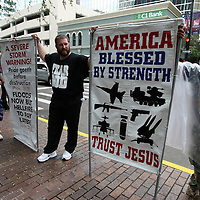 Members of the Bible Believers stand on the sidewalk during the Republican National Convention in Tampa, Fla. on Wednesday, August 29, 2012. (AP Photo/Alex Menendez)