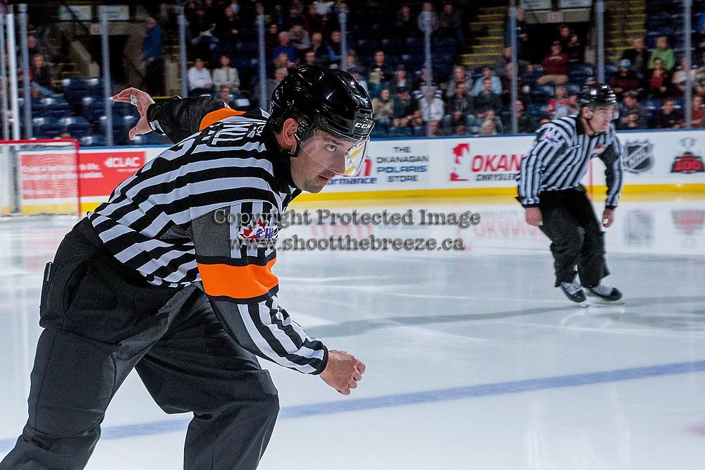 KELOWNA, CANADA - SEPTEMBER 29: Referee Clayton Hall skates at the Kelowna Rockets against the Everett Silvertips on September 29, 2017 at Prospera Place in Kelowna, British Columbia, Canada.  (Photo by Marissa Baecker/Shoot the Breeze)  *** Local Caption ***