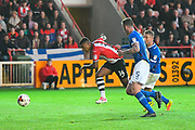 Ollie Watkins (14) of Exeter City shoots at goal during the EFL Sky Bet League 2 play off second leg match between Exeter City and Carlisle United at St James' Park, Exeter, England on 18 May 2017. Photo by Graham Hunt.