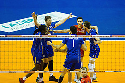 08.01.2016, Max Schmeling Halle, Berlin, GER, CEV Olympia Qualifikation, Frankreich vs Bulgarien, im Bild Jubel Mry?Sidibe (#21, Frankreich/France), Nicolas?Marechal (#16, Frankreich/France), Je?nia?Grebennikov (#2, Frankreich/France) und Julien?Lyneel (#11, Frankreich/France) // during 2016 CEV Volleyball European Olympic Qualification Match between France and Bulgaria at the  Max Schmeling Halle in Berlin, Germany on 2016/01/08. EXPA Pictures © 2016, PhotoCredit: EXPA/ Eibner-Pressefoto/ Wuechner<br /> <br /> *****ATTENTION - OUT of GER*****