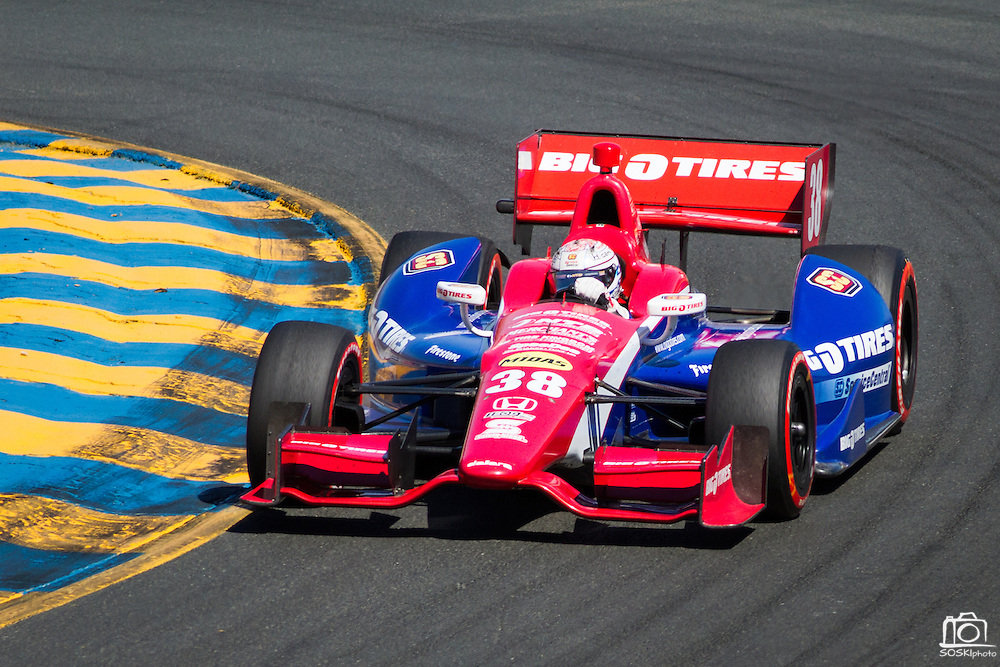 Graham Rahal, #38, comes out of turn 2 during the GoPro Indy Grand Prix of Sonoma at Infineon Raceway in Sonoma, Calif., on Aug. 26, 2012.  Photo by Stan Olszewski/SOSKIphoto.