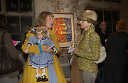 Grayson Perry and Bettina Schroder. AMNESTY INTERNATIONAL EXHIBITION 'IMAGINE A WORLDƒ  WITHOUT VIOLENCE AGAINST WOMEN' Bargehouse Gallery. Oxo Tower. <br />
