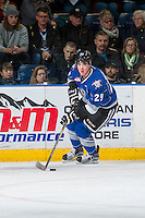 KELOWNA, CANADA - DECEMBER 30: Chaz Reddekopp #29 of the Victoria Royals skates with the puck against the Kelowna Rockets on December 30, 2016 at Prospera Place in Kelowna, British Columbia, Canada.  (Photo by Marissa Baecker/Shoot the Breeze)  *** Local Caption ***