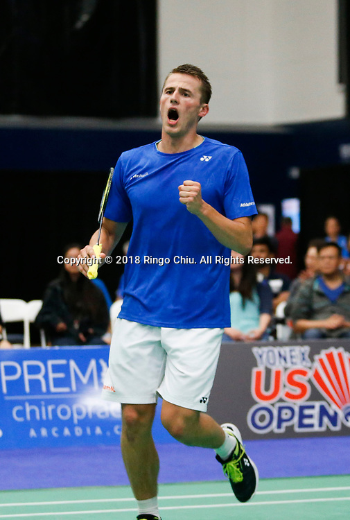 Mark Caljouw of Netherland, celebrates his point against Lee Dong Keun of Korea, during the men's singles final match at the U.S. Open Badminton Championships in Fullerton, California, on June 17, 2018. Lee won 2-1. (Photo by Ringo Chiu)<br /> <br /> Usage Notes: This content is intended for editorial use only. For other uses, additional clearances may be required.
