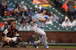 SAN FRANCISCO, CA - APRIL 09:  Corey Seager #5 of the Los Angeles Dodgers hits a double against the San Francisco Giants during the tenth inning at AT&T Park on April 9, 2016 in San Francisco, California. The Los Angeles Dodgers defeated the San Francisco Giants 3-2 in 10 innings. (Photo by Jason O. Watson/Getty Images) *** Local Caption *** Corey Seager