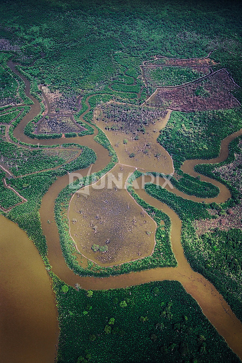 An aerial view of heavily impacted wetlands in East Kalimantan. 8% of global greenhouse gas emissions are attributed to the destruction and degradation of wetlands habitats. In Borneo, swamp forest is the favored habitat of critically endangered orangutans.