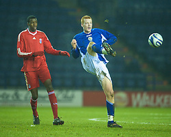 LEICESTER, ENGLAND - Tuesday, January 12, 2010: Leicester City's Cian Bolger in action against Liverpool during the FA Youth Cup 4th Round match at the Walkers Stadium. (Photo by David Rawcliffe/Propaganda)