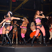 Playboy Night 2004, modellen, danseressen in lingerie op podium