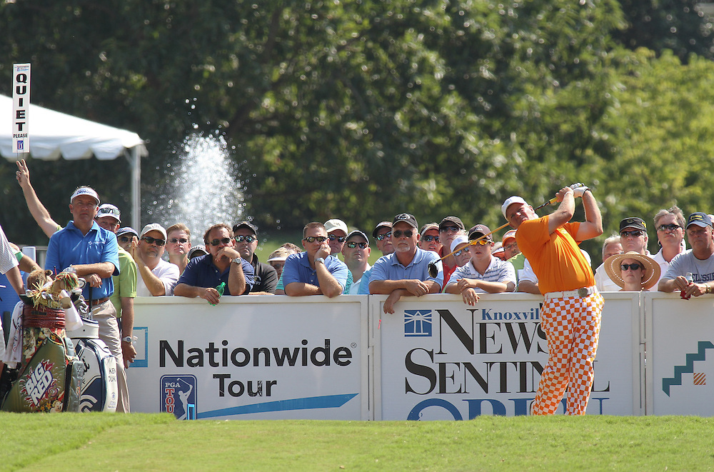 August 27,2010: John Daly tees off during second round play in the Knoxville News Sentinel Open at Fox Den Country Club in Knoxville, Tennessee.