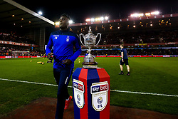 Pele of Nottingham Forest walks past The Brian Clough Trophy on a Sky Bet plinth at The City ground ahead of Nottingham Forest v Derby County - Mandatory by-line: Robbie Stephenson/JMP - 25/02/2019 - FOOTBALL - The City Ground - Nottingham, England - Nottingham Forest v Derby County - Sky Bet Championship
