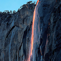 Sunset at Horsetail Falls in Yosemite National Park
