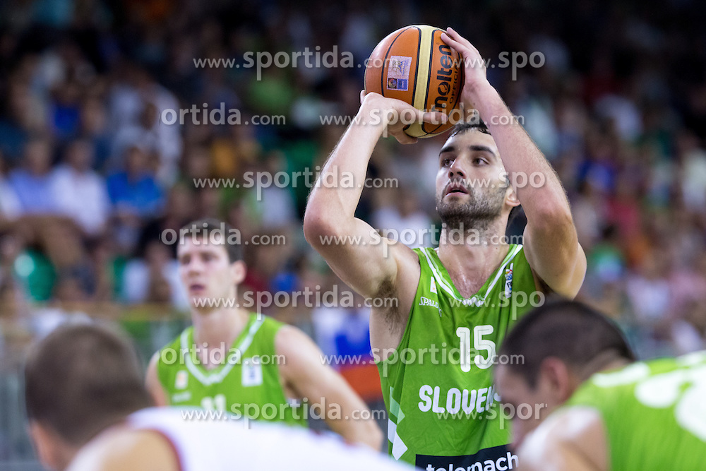 Mirza Begic of Slovenia during friendly match between National teams of Slovenia and Russia for Eurobasket 2013 on August 18, 2013 in Hala Tivoli, Ljubljana, Slovenia. (Photo by Matic Klansek Velej / Sportida.com)