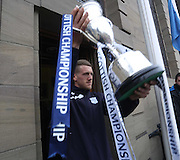 Jim McAlister shows the trophy to the crowd - Dundee FC civic reception at Dundee City Chambers<br /> <br />  - &copy; David Young - www.davidyoungphoto.co.uk - email: davidyoungphoto@gmail.com