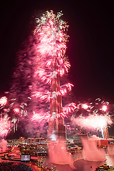 Dubai , United Arab Emirates, January 1 2014; Spectacular fireworks display at Burj Khalifa Tower in Dubai to celebrate New Year