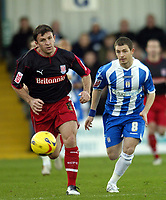 Photo: Olly Greenwood.<br />Colchester United v Stoke City. Coca Cola Championship. 16/12/2006. Stoke's Dave Brammer and Colchester's Jamie Cureton
