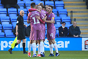 GOAL Bradden Inman is congratulated after making the score 1-1 during the EFL Sky Bet League 1 match between Shrewsbury Town and Rochdale at Greenhous Meadow, Shrewsbury, England on 17 November 2018.