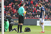 Match referee Paul Tierney shares a joke with Daniel Fox of Nottingham Forest (13) during the EFL Sky Bet Championship match between Sheffield United and Nottingham Forest at Bramall Lane, Sheffield, England on 17 March 2018. Picture by Mick Haynes.
