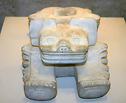 Calcite sculpture of an Ocelot as an offering vessel. Teotihuacan culture 150-750 AD. Mexico. Pre-Columbian Mesoamerican Mythology