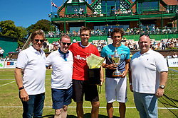 LIVERPOOL, ENGLAND - Sunday, June 24, 2018: Tournament director Anders Borg with L-R: Paul McCraken, Alessandro Giannessi (ITA) and Neil McGonigle during day four of the Williams BMW Liverpool International Tennis Tournament 2018 at Aigburth Cricket Club. (Pic by Paul Greenwood/Propaganda)
