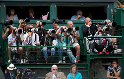 LONDON, ENGLAND - Thursday, June 30, 2011: Photographers on Platform B on Centre Court during the Ladies' Singles Semi-Final match on day ten of the Wimbledon Lawn Tennis Championships at the All England Lawn Tennis and Croquet Club. (Pic by David Rawcliffe/Propaganda)