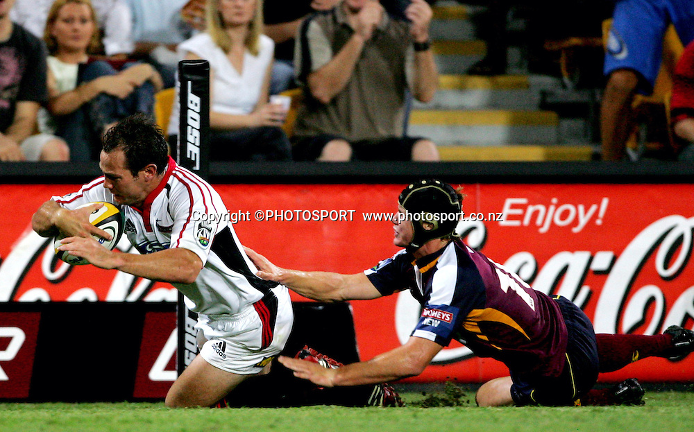 during the 2006 Super 14 rugby union match between the Reds and the Crusaders at Suncorp Stadium, Brisbane, Australia, on Saturday 18 February, 2006.Crusaders defeated Reds 47-21. Photo: PHOTOSPORT