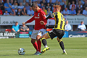 Marcus Tudgay using his strength during the Sky Bet League 1 match between Burton Albion and Coventry City at the Pirelli Stadium, Burton upon Trent, England on 6 September 2015. Photo by Aaron Lupton.