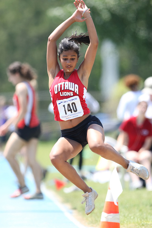 """(Ottawa, Ontario---20080621) """"Biswal, Divyajyoti of ON - Ottawa Lions T&F Club"""" competing in the  at Supermeet I, the 2008 Ontario Track and Field Association (OTFA) Junior/Senior Track and Field Championships. This image is copyright Sean W. Burges, and the photographer can be contacted at seanburges@yahoo.com."""