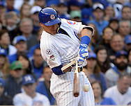 CHICAGO, IL - OCTOBER 12:  Javier Baez #5 of the Chicago Cubs breaks his bat during Game 3 of the NLDS against the St. Louis Cardinals at Wrigley Field on Monday, October 12, 2015 in Chicago , Illinois. (Photo by Ron Vesely/MLB Photos via Getty Images) *** Local Caption *** Javier Baez;