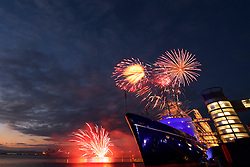 Fireworks display to mark Queen's 90th birthday at the Royal Yacht Britannia.  Britannia Visitor Centre, Leith quay, Edinburgh<br /> (c) Brian Anderson   Edinburgh Elite media