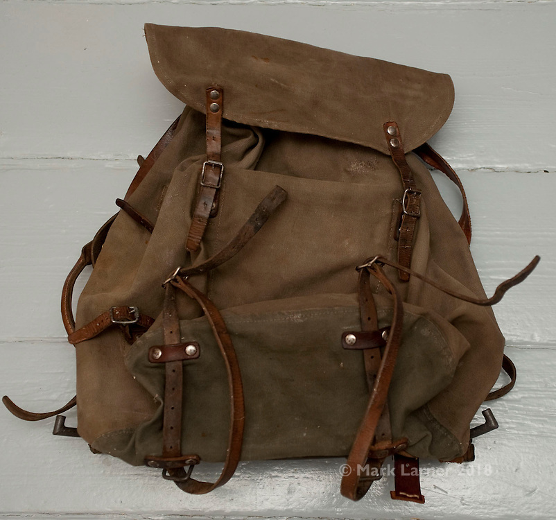 Picture shows a vintage Swedish Army rucksack from c1940s / 1950s.<br /> <br /> Canvas has been washed and waxed and the leather polished.<br /> <br /> Find out more at www.new-utility.co.uk<br /> <br /> Credit should read: Picture by Mark Larner<br /> NO UNAUTHORISED USAGE