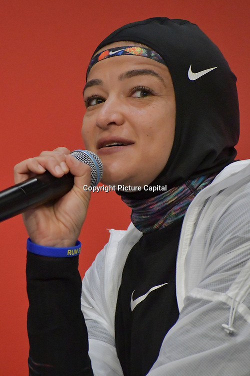 Manal Rostom is the first veiled Egyptian Arab woman run for marathon speak of the oppress and discrimination against women wearing hijab in sport in the west at London Marathon Exhibition 2019 - ExCeL London on 26 April 2019, London, UK.