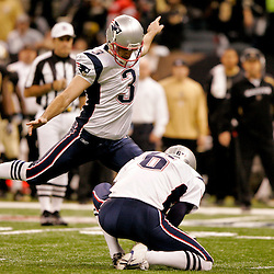 2009 November 30: New England Patriots kicker Stephen Gostkowski (3) kicks a field goal during a 38-17 win by the New Orleans Saints over the New England Patriots at the Louisiana Superdome in New Orleans, Louisiana.