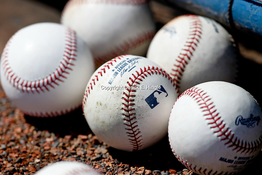 March 4, 2012; Tampa Bay, FL, USA; A detailed view of baseballs on the ground during spring training game between the New York Yankees and the Philadelphia Phillies at George M. Steinbrenner Field. Mandatory Credit: Derick E. Hingle-US PRESSWIRE