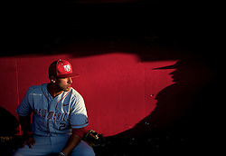 25 MAY 2011:  The University of New Mexico's Alexis Garza sits quietly in the dugout prior to playing Texas Christian University during the 2011 Mountain West Conference Baseball Championships held at Tony Gwynn Stadium in San Diego, CA.