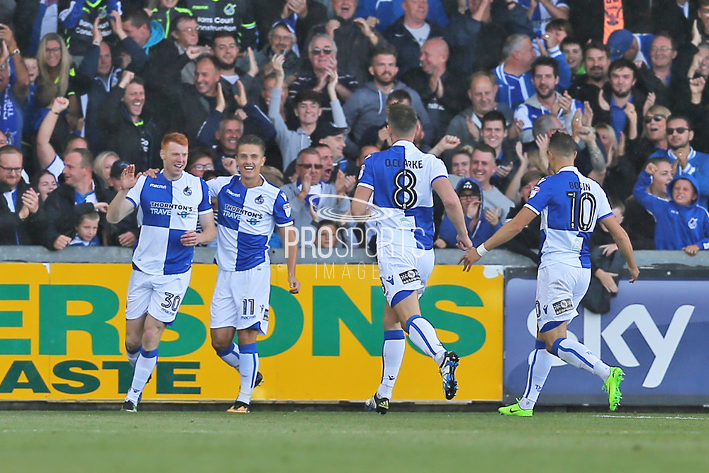 Bristol Rovers Rory Gaffney (30) scores and celebrates his goal 1-0 first half  during the EFL Sky Bet League 1 match between Bristol Rovers and Walsall at the Memorial Stadium, Bristol, England on 9 September 2017. Photo by Gary Learmonth.