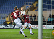 Northampton Town Forward Marc Richards turns to celebrate after scoring his penalty during the Sky Bet League 2 match between Oxford United and Northampton Town at the Kassam Stadium, Oxford, England on 16 February 2016. Photo by Adam Rivers.