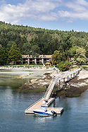 The Galiano Inn's dock at Sturdies Bay. Photographed from the BC Ferries vessel Salish Eagle in Sturdies Bay at Galiano Island, British Columbia, Canada.