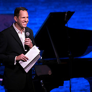 """February 9, 2015 - New York, NY : Composer Yotam Haber, whose piece 'Estro Poetico–Armonico II' was performed later in the evening, acts as emcee for The New York Philharmonic and the 92nd Street Y's presentation of """"Contact! New Music from Israel"""" at SubCulture in Manhattan on Monday night.  CREDIT: Karsten Moran for The New York Times"""